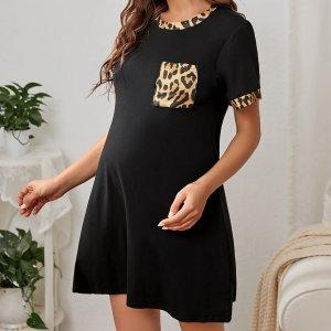 Для беременных Домашнее платье с леопардовым принтом контрастной отделкой SHEIN. Цвет: чёрный