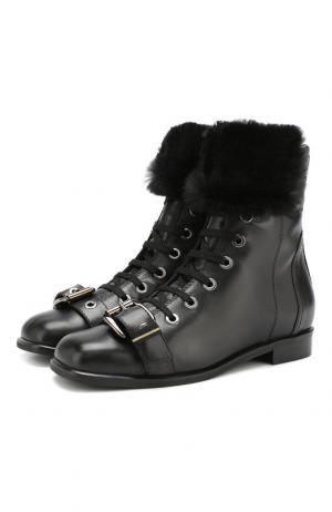 Кожаные ботинки с отделкой из овчины Baldan. Цвет: черный