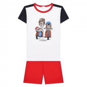 Хлопковая пижама La Perla. Цвет: синий