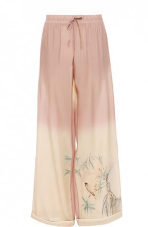 Шелковые брюки в пижамном стиле с эластичным поясом Valentino. Цвет: светло-розовый