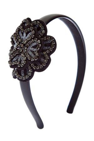 Ободок для волос из гладкого текстиля с объемным декором REDVALENTINO. Цвет: черный