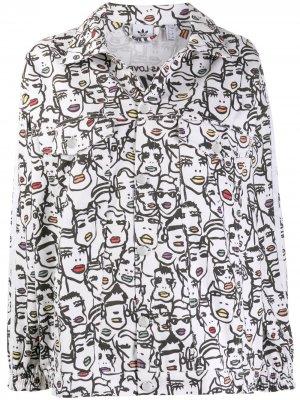 Джинсовая куртка из коллаборации с Fiorucci adidas. Цвет: белый