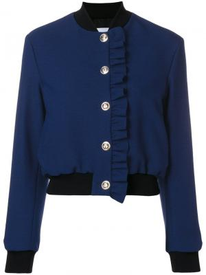 Куртка-бомбер с оборкой MSGM. Цвет: синий