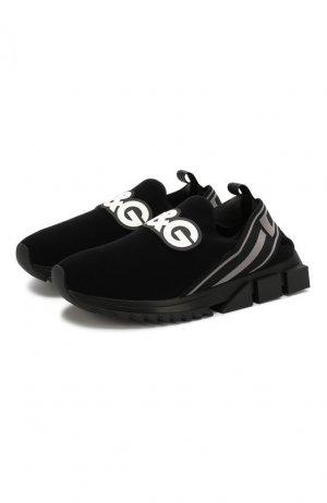 Текстильные кроссовки Sorrento Dolce & Gabbana. Цвет: чёрный