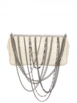 Стеганая сумка на плечо с ремнем-цепочкой Chanel Pre-Owned. Цвет: белый