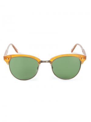 Солнцезащитные очки в круглой оправе Garrett Leight. Цвет: телесный