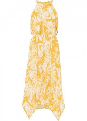 Платье c асимметричным подолом bonprix. Цвет: желтый