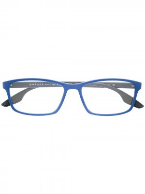 Очки в геометричной оправе Prada Eyewear. Цвет: синий