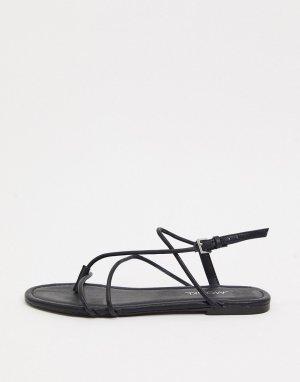 Черные сандалии с ремешками -Черный Monki