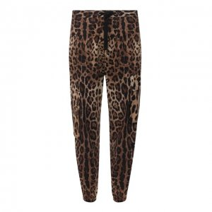 Хлопковые джоггеры Dolce & Gabbana. Цвет: леопардовый