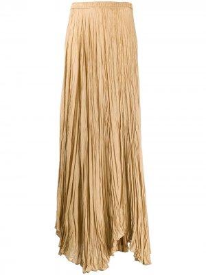 Плиссированная юбка макси с асимметричным подолом Joseph. Цвет: нейтральные цвета