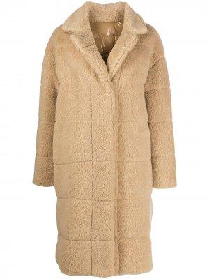 Двустороннее однобортное пальто Moncler. Цвет: нейтральные цвета