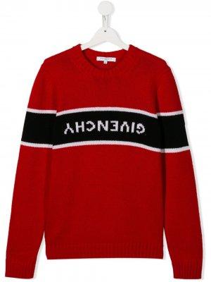 Пуловер с логотипом Givenchy Kids. Цвет: красный