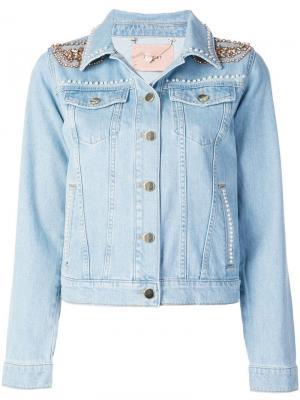 Джинсовая куртка с декором на плечах Twin-Set. Цвет: синий