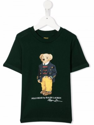 Graphic bear print t-shirt Ralph Lauren Kids. Цвет: зеленый