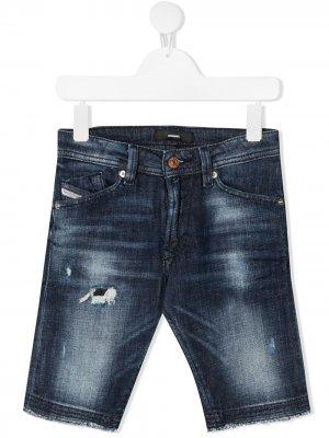 Узкие джинсы с эффектом потертости Diesel Kids. Цвет: синий