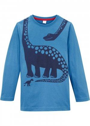 Лонгслив с динозавром для мальчика bonprix. Цвет: синий