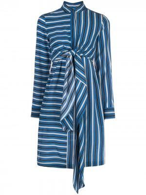 Платье-рубашка мини в полоску Akris Punto. Цвет: синий