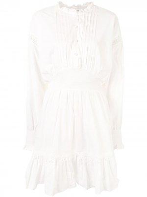 Платье миди с плиссированной манишкой Designers Remix. Цвет: белый