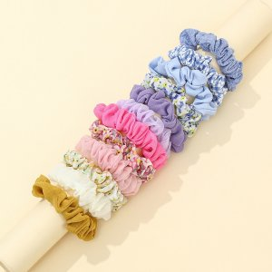 12шт Резинка для волос с цветочным принтом SHEIN. Цвет: многоцветный