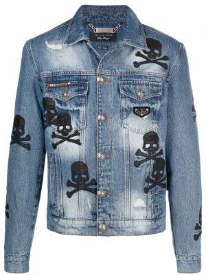Джинсовая куртка с нашивкой Philipp Plein. Цвет: синий