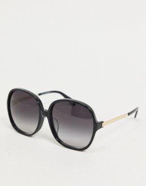 Круглые солнцезащитные очки с черепаховыми вставками -Черный Kate Spade