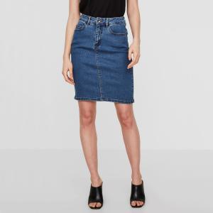 Юбка джинсовая прямого покроя VERO MODA. Цвет: синий потертый