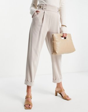 Бежевые брюки-галифе со складками -Нейтральный River Island