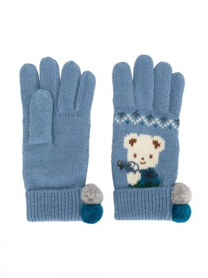 Перчатки вязки интарсия Familiar. Цвет: синий