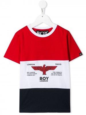 Футболка в полоску с логотипом Boy London Kids. Цвет: красный