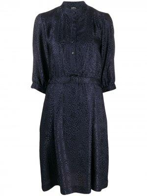 Платье миди с леопардовым принтом A.P.C.. Цвет: синий