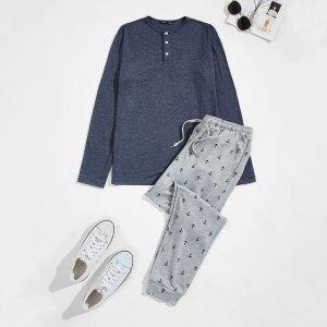 Мужская пижама на пуговицах с принтом SHEIN. Цвет: многоцветный