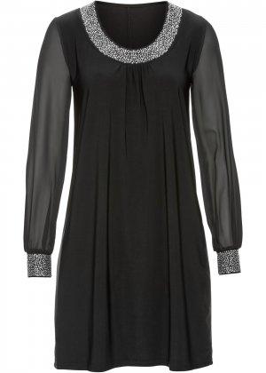 Платье с аппликациями из стразов bonprix. Цвет: черный