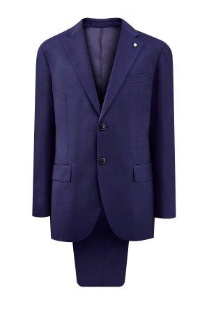 Классической костюм-двойка из ткани Super 130s от Loro Piana LUBIAM. Цвет: синий