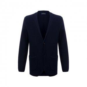 Пиджак из хлопка и шелка Polo Ralph Lauren. Цвет: синий