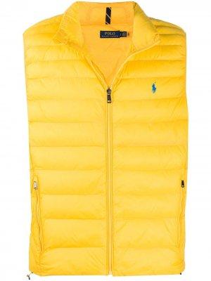 Стеганый жилет с вышитым логотипом Polo Ralph Lauren. Цвет: желтый