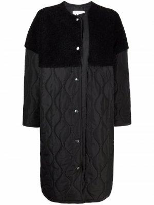 Стеганое пальто на пуговицах со вставками 8pm. Цвет: черный