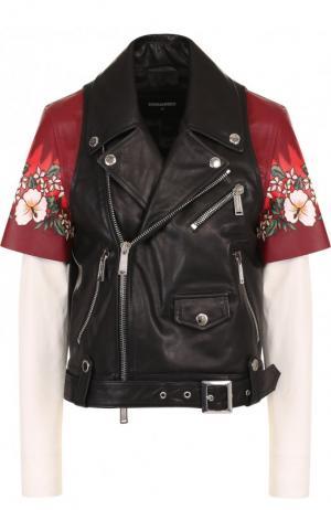Кожаная куртка с косой молнией и декоративной вставкой Dsquared2. Цвет: черный