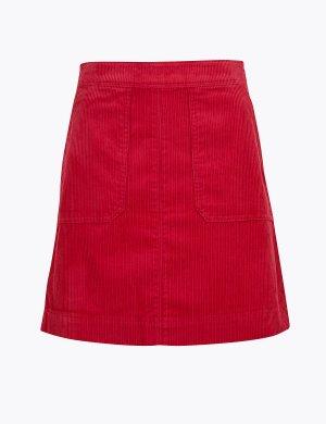 Вельветовая мини юбка А-силуэта M&S Collection. Цвет: розовый