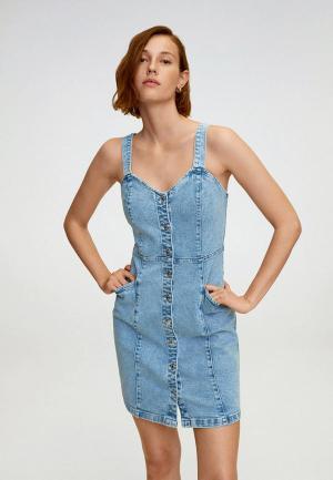 Платье джинсовое Mango - BOHO. Цвет: голубой