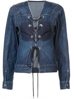 Джинсовая куртка со шнуровкой Sacai. Цвет: синий