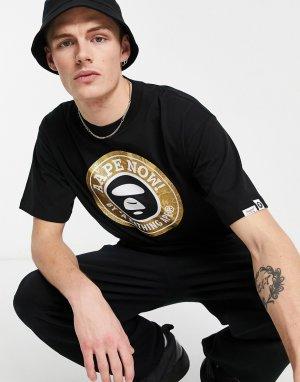 Черная футболка со светло-коричневым принтом и надписью Aape Now By A Bathing Ape-Черный цвет APE®