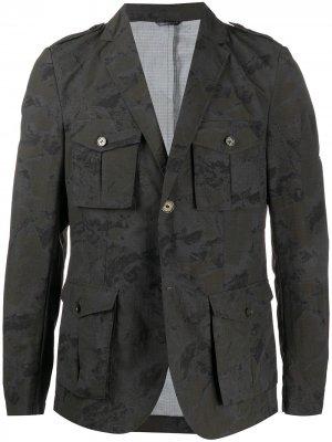 Куртка-рубашка с камуфляжным принтом Daniele Alessandrini. Цвет: серый