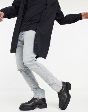 Светло-голубые окрашенные джинсы скинни в стиле 90-х с низкой посадкой и рваной отделкой -Синий ASOS DESIGN