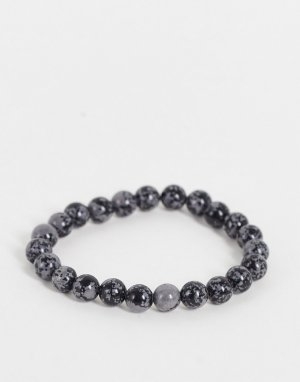 Черный браслет из обсидиановых бусин DesignB-Черный цвет DesignB London