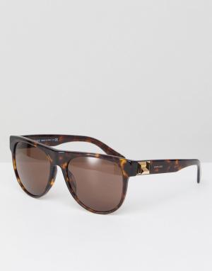 Солнцезащитные очки в круглой черепаховой оправе Versace. Цвет: коричневый
