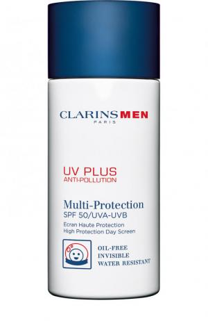 Защитный флюид-экран для мужчин UV Plus Anti-Pollution SPF 50 Clarins. Цвет: бесцветный