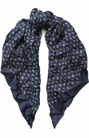 Шелковый платок с принтом Giorgio Armani. Цвет: синий