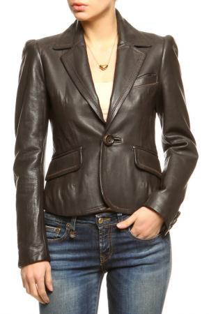 Куртка кожаная DSquared2. Цвет: коричневый