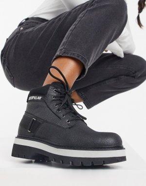 Черные походные ботинки на платформе со шнуровкой CAT Rune-Черный Footwear